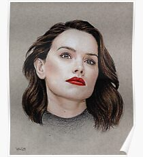 Daisy Ridley coloured pencil portrait Poster