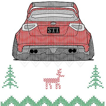 Ugly Sweater Christmas Subaru Impreza WRX STI (Red) by osmancetinyapic