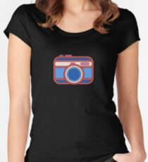 Camera Design - Red White and Blue Women's Fitted Scoop T-Shirt