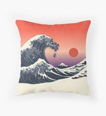 The Great Wave of Black Pugs Throw Pillow