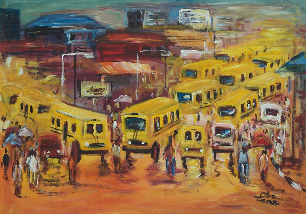 Lagos Bus Stop scene by africanartdepot