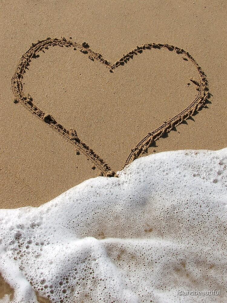 Sand Heart in Surf by Islandbeautiful