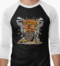 Gun Wielding Pizza Loving Geek Cartoon T-Shirt