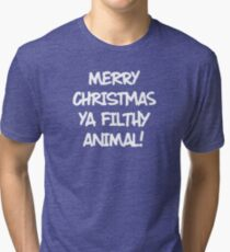 Merry Christmas Ya Filthy Animal! Home Alone Christmas Movie Green/White Tri-blend T-Shirt