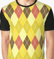 Gelbbraun und Rot Argyle Grafik T-Shirt
