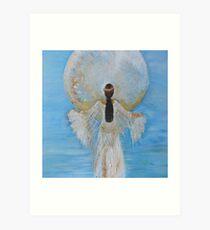 Mondfrau Himmelblau Kunstdruck