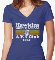 Hawkins Middle School A.V. Club Women's Fitted V-Neck T-Shirt