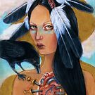 Wounded crow sacred heart woman portrait by MoonSpiral