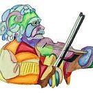 Fractured Einstein With Violin by Pamela Spiro Wagner