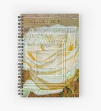 Collaged White Rose Spiral Notebook