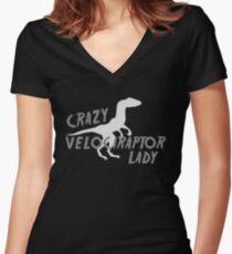Crazy Velociraptor lady (dinosaur) Women's Fitted V-Neck T-Shirt