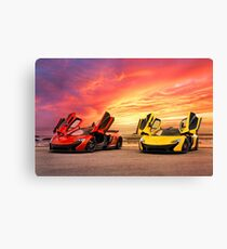 Two McLarens with an Epic Sunset Canvas Print
