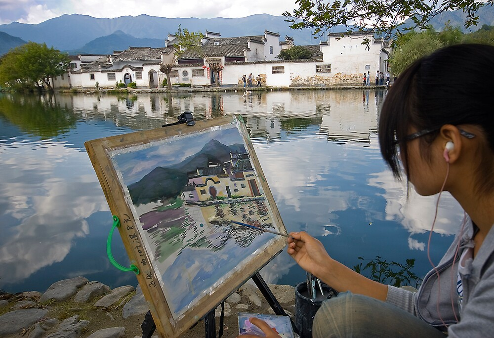 Artists in Hongcun Village No.1 by Akif  Kaynak
