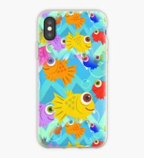 Seamless Happy Fish Tiling Pattern iPhone Case