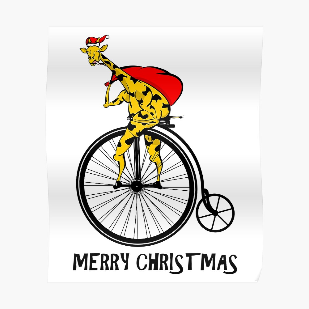 Giraffe Riding A Bike Christmas Poster
