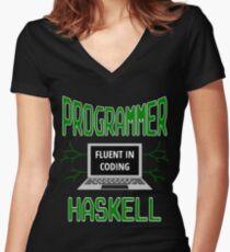 Retro Programmer Design Fluent in Coding Haskell Women's Fitted V-Neck T-Shirt