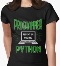 Retro Programmer Design Fluent in Coding Python Women's Fitted T-Shirt