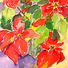 Poinsettias in a Blue Pot by Virginia McGowan