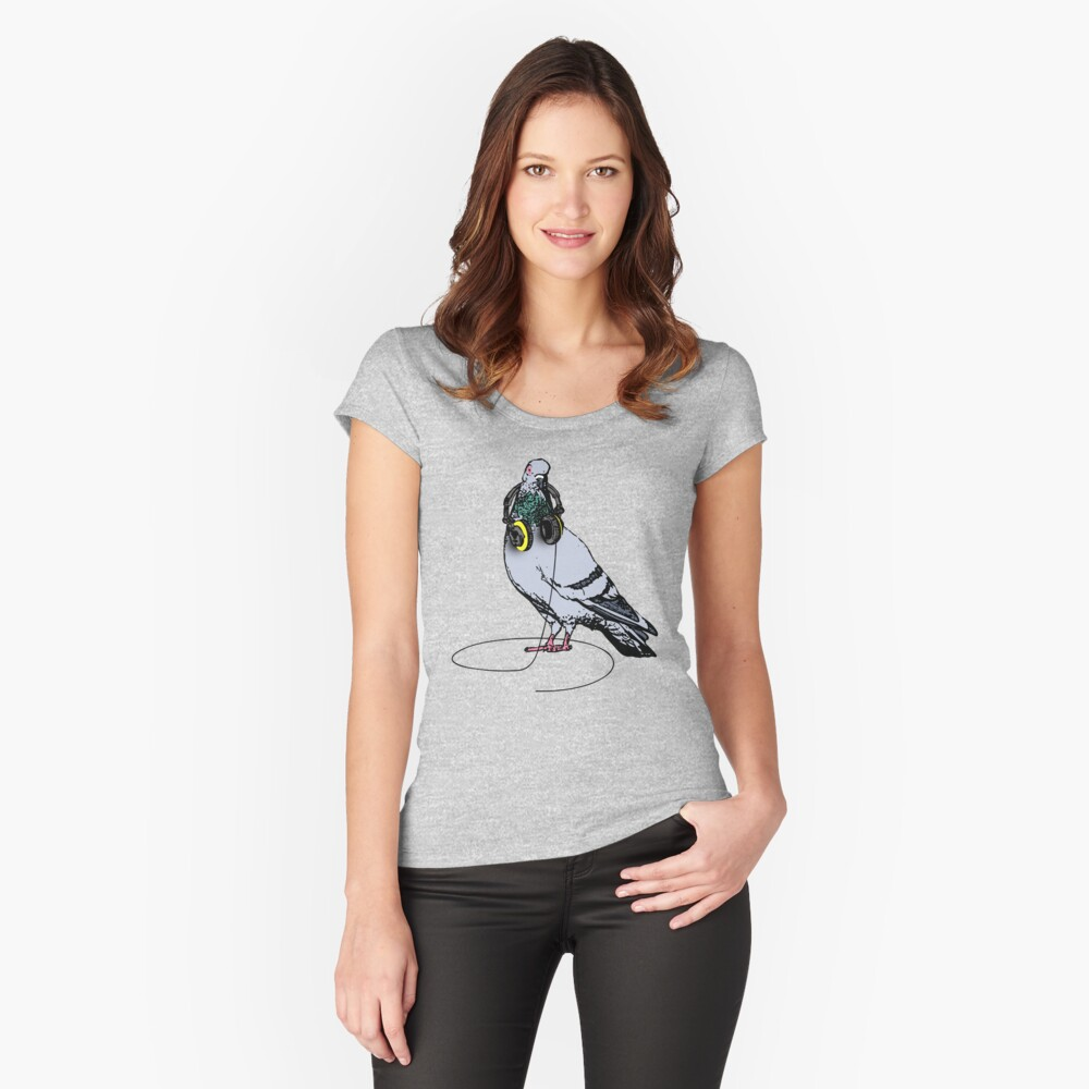 Techno Pigeon Women's Fitted Scoop T-Shirt Front