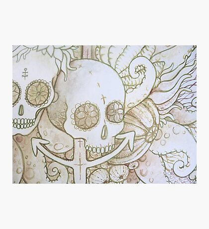 skull in the ocean sketch Photographic Print