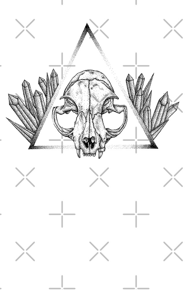 Cat Skull & Gems by Melanie Peterson