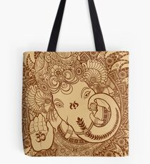 Ganesha Lineart Scroll Tote Bag
