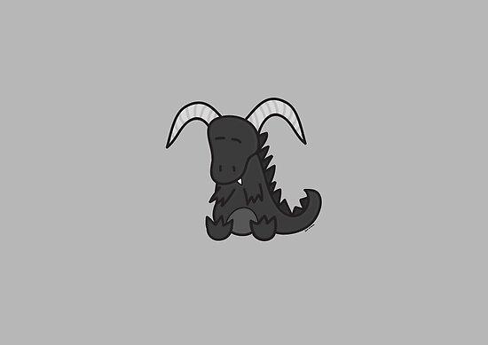 Black chibi dragon by Dark-Wardrobe