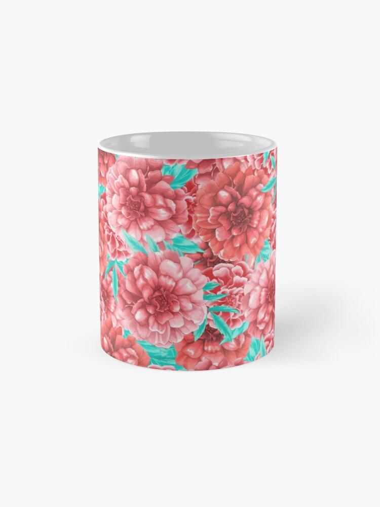 Alternate view of Pink & Coral Peony Floral Pattern Mug