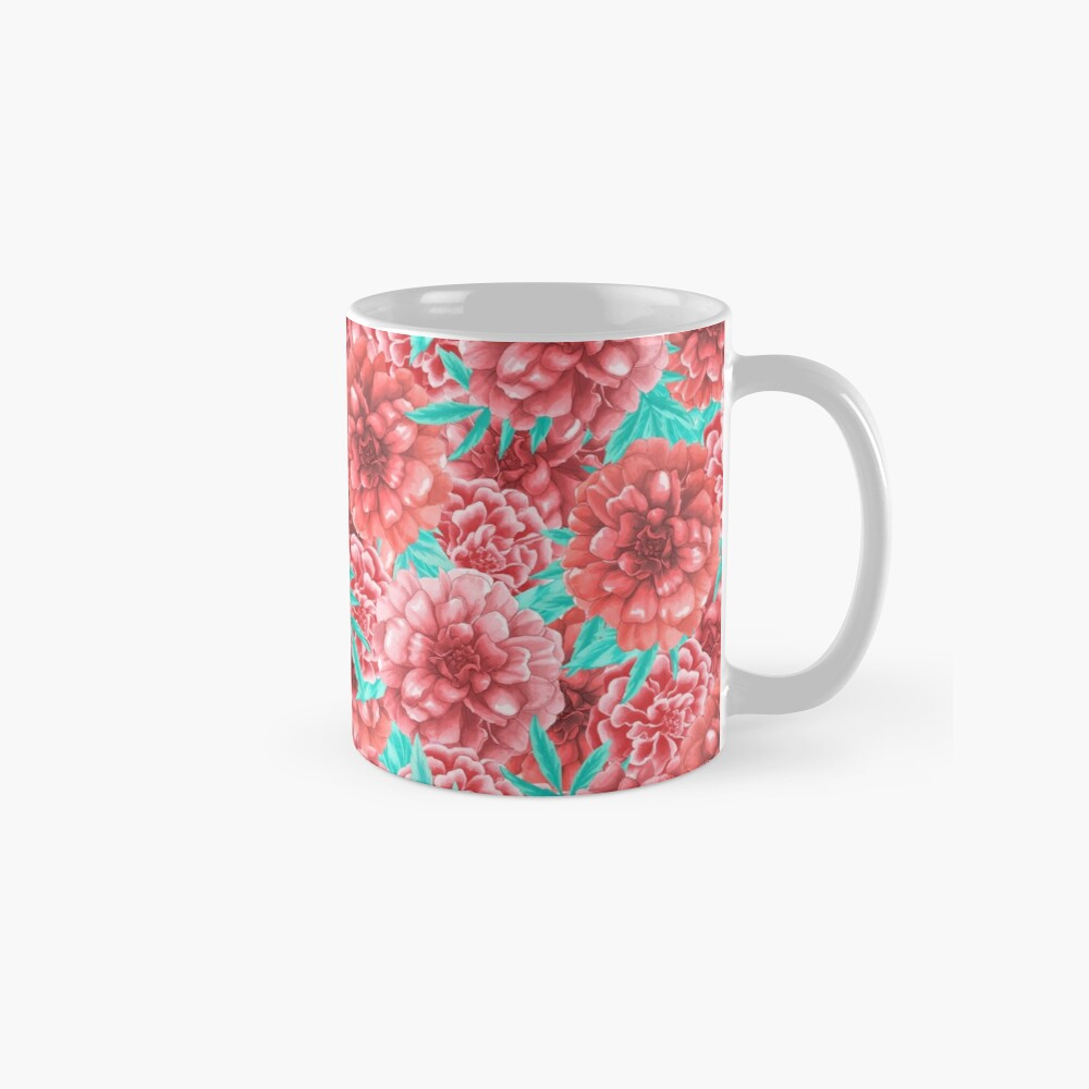 Pink & Coral Peony Floral Pattern Mug