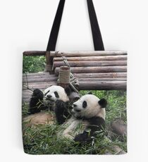 Young Giant Pandas Tote Bag