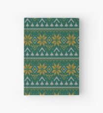 Knitted Christmas pattern green  Hardcover Journal