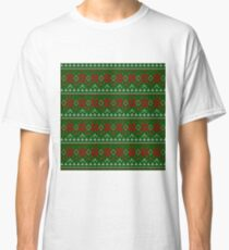 Knitted Christmas pattern red green Classic T-Shirt