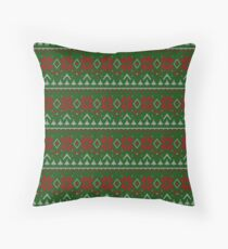 Knitted Christmas pattern red green Throw Pillow