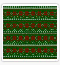 Knitted Christmas pattern red green Sticker