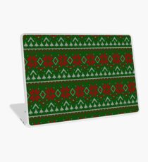Knitted Christmas pattern red green Laptop Skin