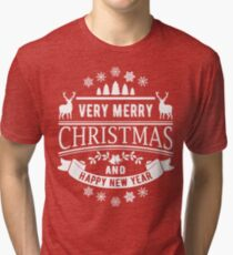 Merry Christmas And Happy New Year Tri-blend T-Shirt