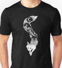 Fox Silhouette mit Bergen, Bäumen und Mond T-Shirt Slim Fit T-Shirt