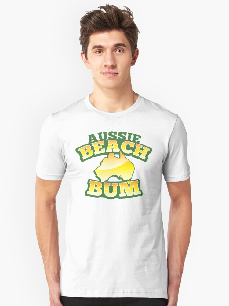 Aussie Beach Bum cute Australian design with map of Australia Unisex T-Shirt Front
