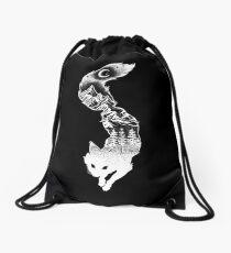 Fox Silhouette mit Bergen, Bäumen und Mond T-Shirt Turnbeutel