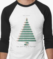 Pencil Christmas Tree Men's Baseball ¾ T-Shirt
