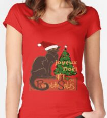 Joyeux Noel Le Chat Noir With Tree And Gifts Women's Fitted Scoop T-Shirt