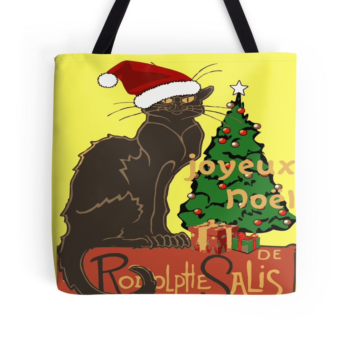 Joyeux Noel Le Chat Noir With Tree And Gifts By Taiche