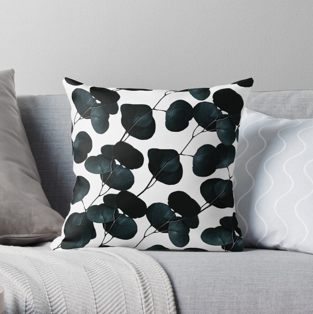 Dark Leaves #redbubble #artforsale Throw Pillow
