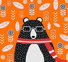 Bear in floral rain by cocodes