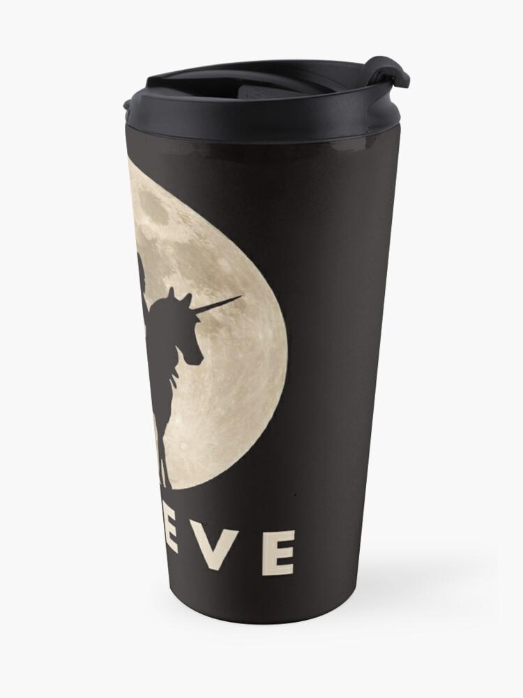 Alternate view of Bigfoot Riding a Unicorn Against a Full Moon, Believe! Travel Mug