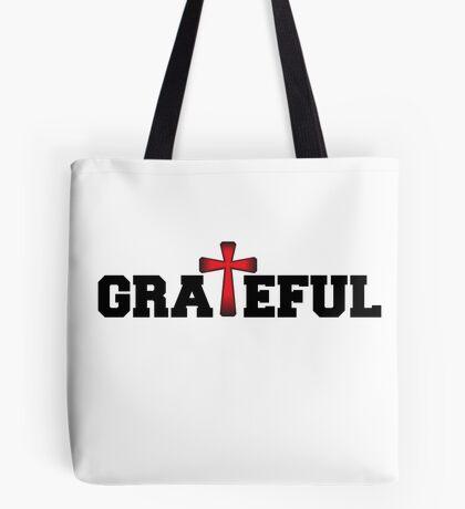 Grateful - Red & Black Tote Bag