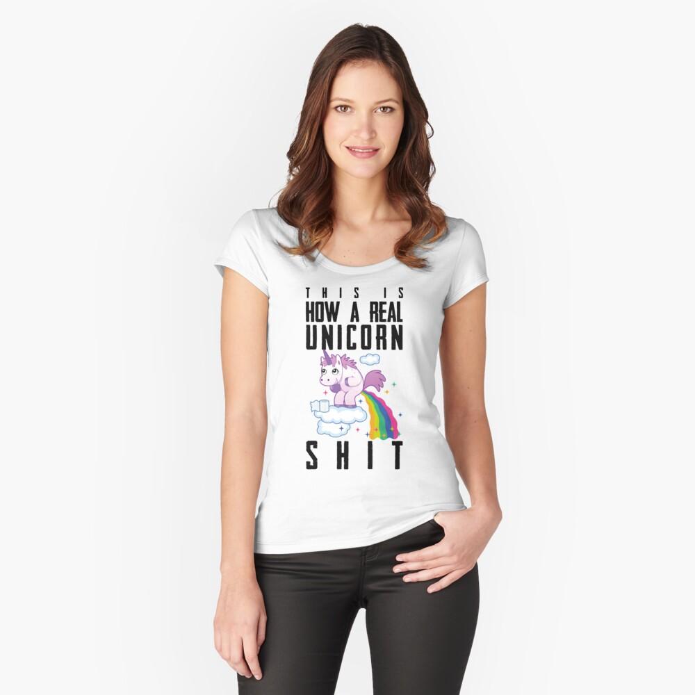 Einhorn Regenbogen Scheiße Tailliertes Rundhals-Shirt