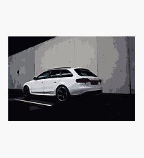 White SUV in Urban Environment Clean Design Photographic Print