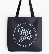 BTS Mic Drop calligraphy with circular lyric design on dark bg Tote Bag