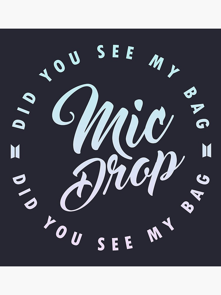 BTS Mic Drop calligraphy with circular lyric design on dark bg |  Photographic Print